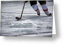 Player And Puck Greeting Card