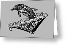 Playful Dolphin Zentangle Greeting Card