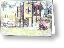 Playground Equipment Sketch Greeting Card
