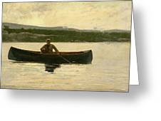 Playing A Fish Greeting Card by Winslow Homer