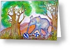 Playing By The Baobab Tree Greeting Card