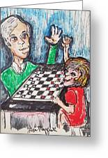 Playing Checkers Greeting Card