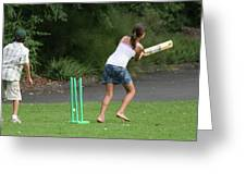 Playing Cricket Greeting Card