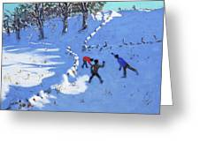 Playing In The Snow Youlgrave, Derbyshire Greeting Card