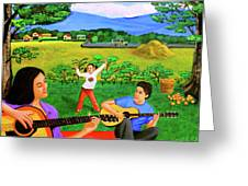 Playing Melodies Under The Shade Of Trees Greeting Card