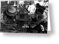 playng backgammon Sinai Egypt Greeting Card