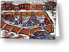 Playoff Time At The Local Hockey Rink Montreal Winter Scenes Paintings Best Canadian Art C Spandau Greeting Card