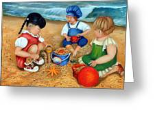 Playtime At The Beach Greeting Card