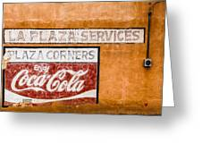Plaza Corner Coca Cola Sign Greeting Card