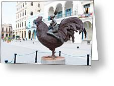 Nude On Rooster Greeting Card