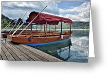 Pletna Boats Of Lake Bled Greeting Card