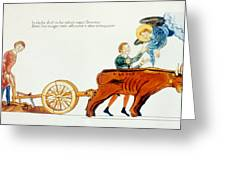 Ploughing, 12th Century Greeting Card