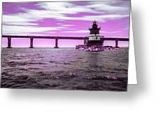 Plum Beach Lighthouse In Ir Greeting Card