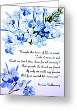 Plumbago   Poem Greeting Card