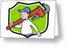 Plumber Holding Monkey Wrench Crest Cartoon Greeting Card