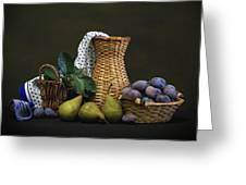 Plums And Pears Greeting Card