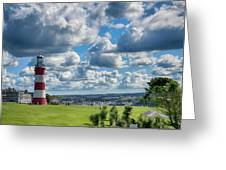 Plymouth Hoe And Smeatons Tower Greeting Card