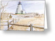 Plymouth Light In Winter Greeting Card