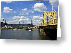 Pnc Park And Roberto Clemente Bridge Pittsburgh Pa Greeting Card