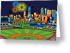 Pnc Park Fireworks Greeting Card