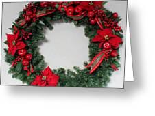 Poinsettia Wreath Greeting Card