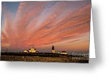 Point Judith Lighthouse Sunset Greeting Card
