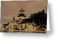 Point Pinos Lighthouse Antiqued Greeting Card