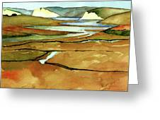 Point Reyes, Ca, Drakes Beach Estuary, Midday Tide, Watercolor Plein Air Greeting Card