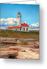 Point Wilson Lighthouse And Driftwood Greeting Card