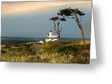 Point Wilson Lighthouse Puget Sound Watercolor Greeting Card
