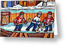 Outdoor Hockey Rink Painting  Devils Vs Rangers Sticks And Jerseys Row House In Winter C Spandau Greeting Card