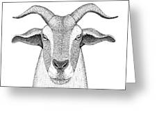 Farm Goat In Pointillism Greeting Card