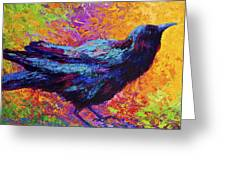Poised - Crow Greeting Card by Marion Rose