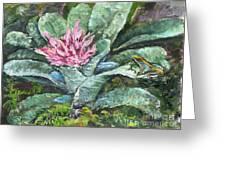 Poison Dart Frog On Bromeliad Greeting Card