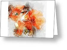 Pokemon Vulpix Abstract Portrait - By Diana Van Greeting Card