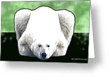 Polar Bear - Green Greeting Card