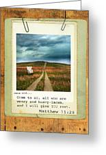 Polaroid On Weathered Wood With Bible Verse Greeting Card