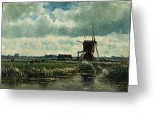 Polder Landscape With Windmill Near Aboude Greeting Card