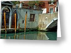 Poles On Canal In Venice Greeting Card