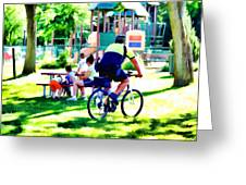 Police Officer Rides A Bicycle Greeting Card