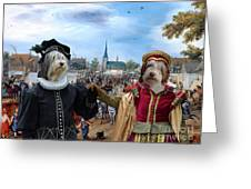 Polish Lowland Sheepdog Art Canvas Print - Prince And Princess Of Orange Greeting Card