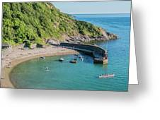 Polkerris Beach And Harbour Greeting Card