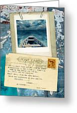 Poloroid Of Boat With Inspirational Quote Greeting Card