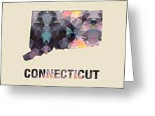 Polygon Mosaic Parchment Map Connecticut Greeting Card