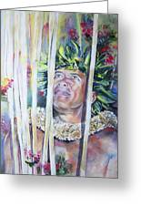 Polynesian Maori Warrior With Spears Greeting Card