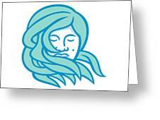 Polynesian Woman Flowing Hair Mascot Greeting Card