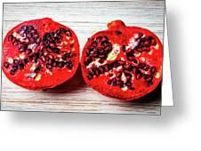 Pomegranate Cut In Half Greeting Card
