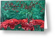 Pomegranates And Crabapples Greeting Card