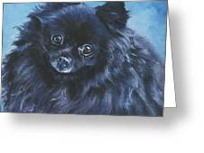 Pomeranian Black Greeting Card by Lee Ann Shepard