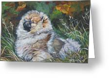Pomeranian Puppy Autumn Leaves Greeting Card